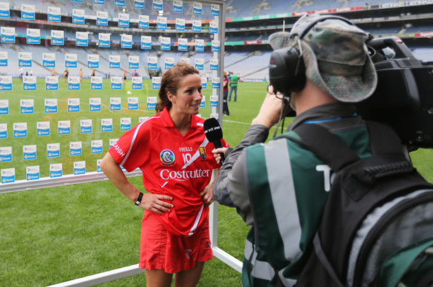 Jennifer O'Leary is interviewed after the game