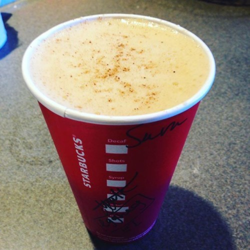 #eggnoglatte sadly missing the whip... #starbucks #coffee #obsession