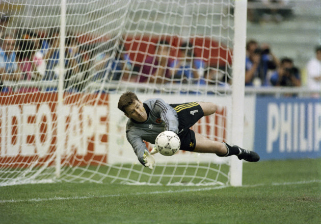 Packie Bonner saves a penalty to win the match