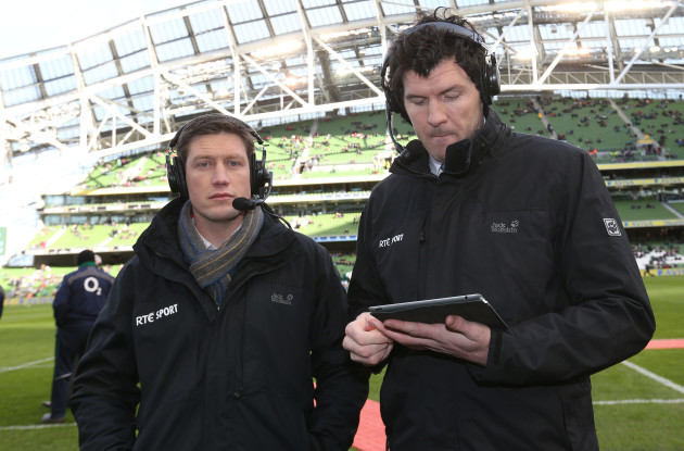 Ronan O'Gara and Shane Horgan working for RTE Television