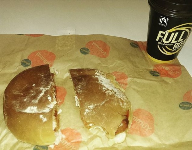 Sausage bap and cawfee for breakfast this morning when I was dying a death from being forced to drink last night