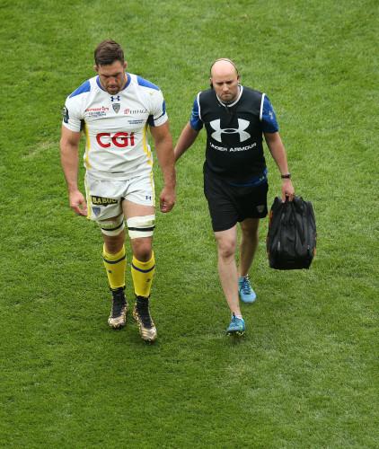Jamie Cudmore leaves the field injured