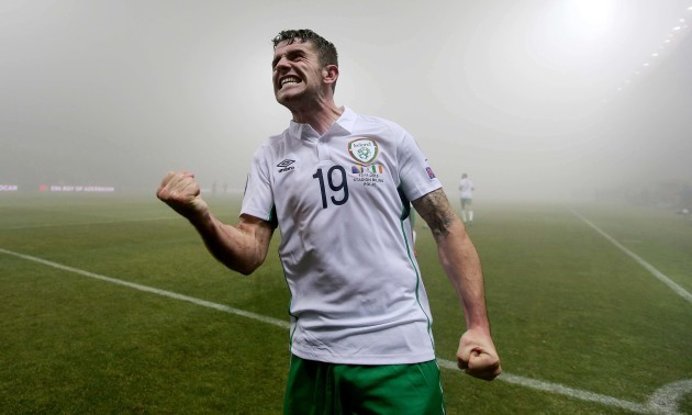 Robbie Brady celebrates scoring their first goal