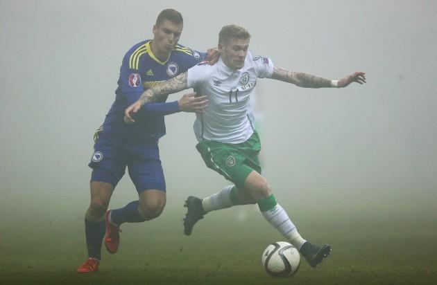James McClean with Ognjen Vranjes