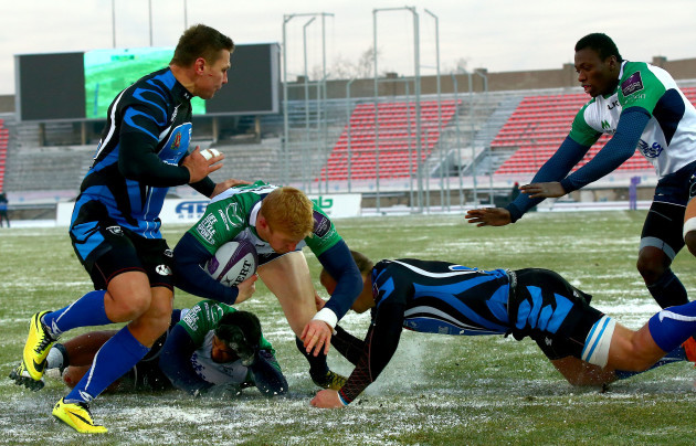 Darragh Leader scores his sides third try