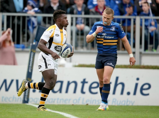 Christian Wade celebrates his try