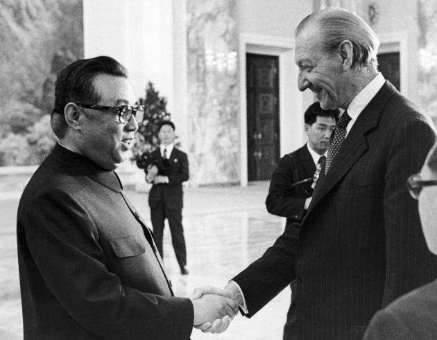 North Korea Pyongyang Kurt Waldheim and Kim II Sung