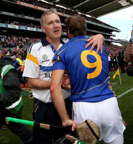 Eamon O'Shea celebrates with James Woodlock