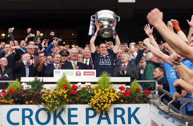 Stephen Cluxton lifts the Sam Maguire trophy