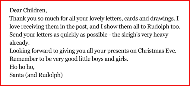 Will you be helping the children be writing letters to Santa this year? Every child gets a reply from Santa and his helpers…