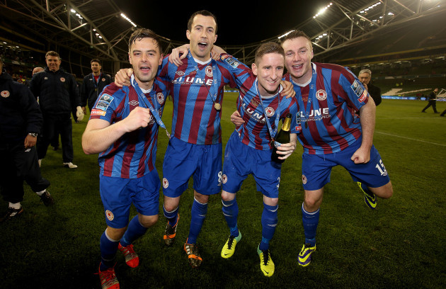 Greg Bolger, Keith Fahey, Ian Bermingham and Kenny Brown celebrate
