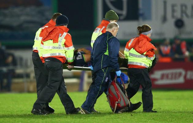 Nepia Fox Matamua leaves the field injured