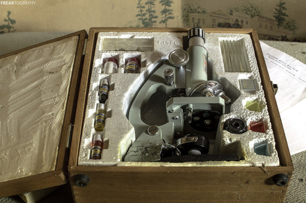 Microscope Set in abandoned house
