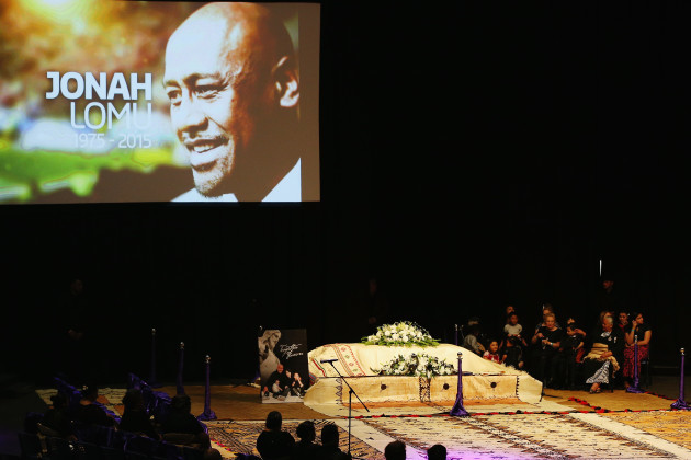 The casket containing the body of Jonah Lomu sits at the front of the Aho Faka Famili memorial