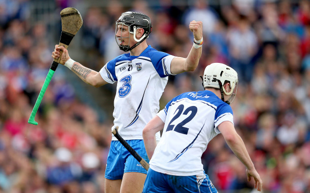 Maurice Shanahan celebrates scoring his side's second goal with Shane Bennett