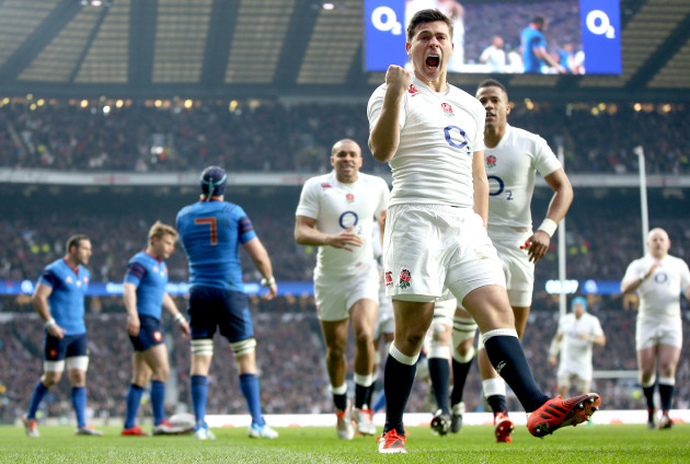 Ben Youngs celebrates scoring his side's first try