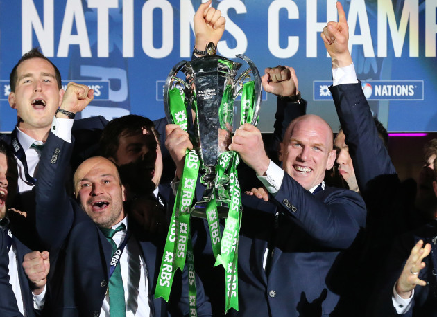 Ireland team with Rory Best and Paul O'Connell with the 6 Nations Trophy at the presentation