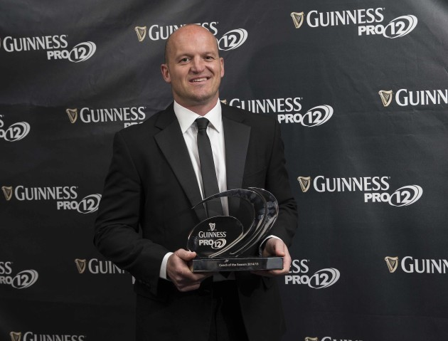 Pictured with his award for Guinness Pro12 Coach of the Season is Gregor Townsend from Glasgow Warriors