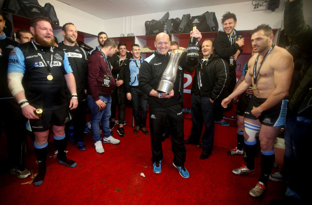 Gregor Townsend celebrates in the changing room