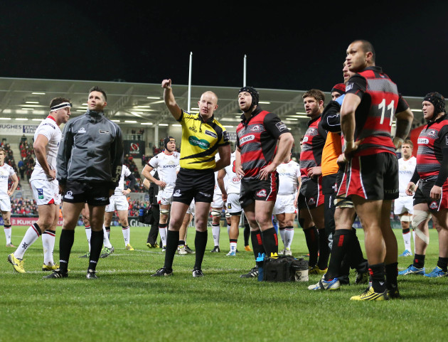 Ian Davies watches the TMO before awarding Ulster a penalty try