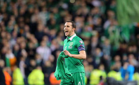 John O'Shea celebrates after the game