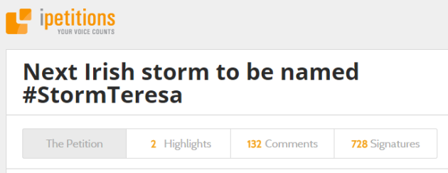 There's already a petition to name Ireland's next storm Storm Teresa