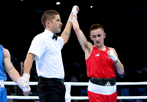 Myles Casey is declared the winner against Ivan Fihurenka