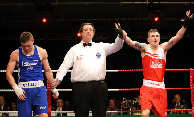 Dean Walsh celebrates after defeating Ray Moylette