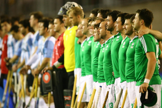 Ireland players line up for the national anthems