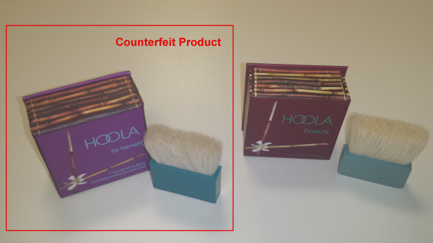 Comparison of legitimate and counterfeit cosmetic product