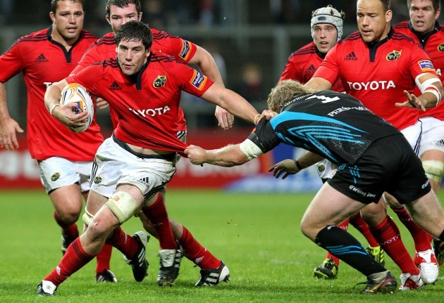 Dave O'Callaghan tackled by Duncan Jones