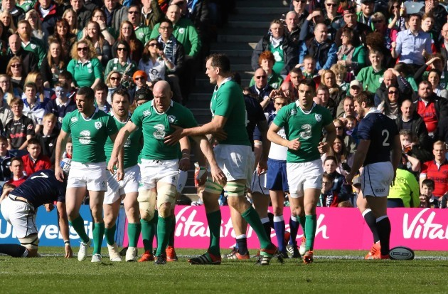 Paul O'Connell celebrates his try with teammates