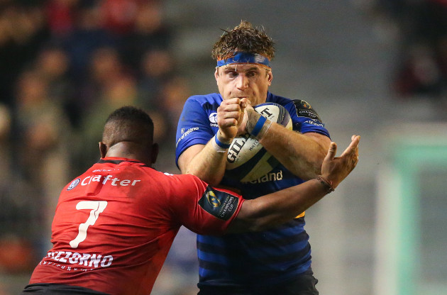 LeinsterÕs Jamie Heaslip is tackled by ToulonÕs Steffon Armitage