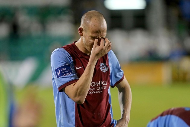 Alan Byrne dejected at the end of the game