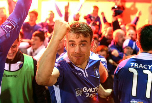 Vinny Faherty celebrates after the game
