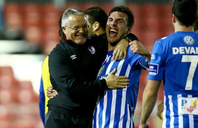 Micky Adams celebrates with Gavin Peers at the end of the game