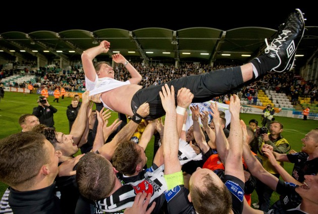 Dundalk manager Stephen Kenny is thrown in the air by his players after they captured the league title