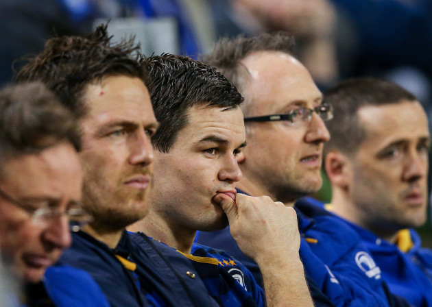Jonathan Sexton watches the match from the bench
