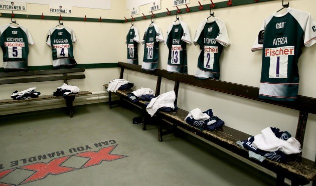 A view of Leicester Tigers jerseys hanging in the changing room