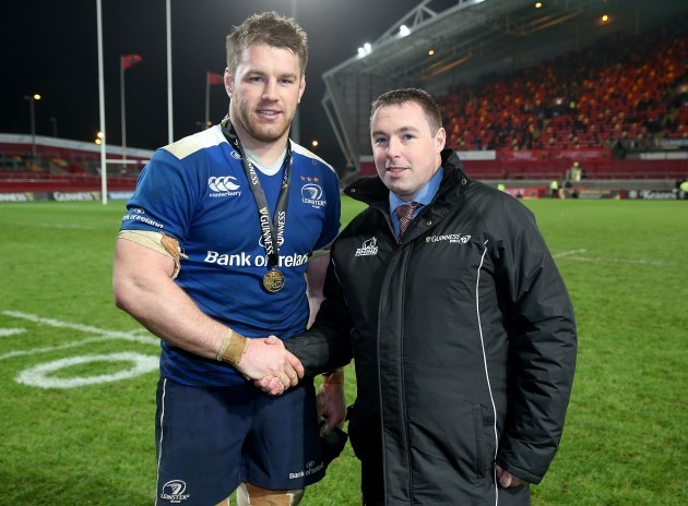 Sean O'Brien receives the man of the match award from Colin Kenny