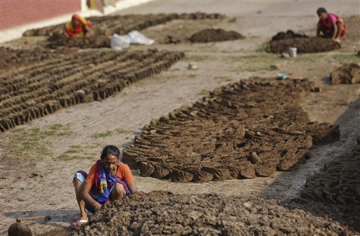 Women make cow dung cakes in Allahabad, India.