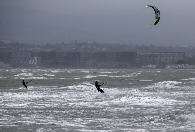 28/12/2015. Stormy Weather. Pictured wind surfers