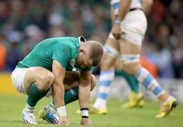 Ian Madigan dejected after the game