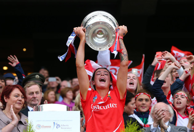Ashling Thompson lifts the O'Duffy cup