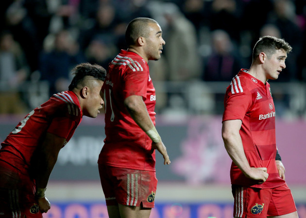 Francis Saili, Simon Zebo and Ronan O'Mahony dejected after the game