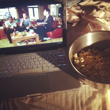 First Friday night in for a long time, spent with popcorn and New Girl