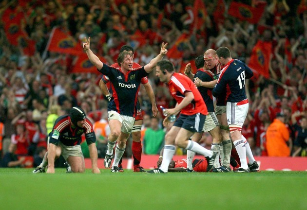 Jerry Flannery celebrates at the final whistle