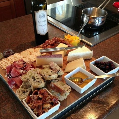 Who would like some #cheese with that #wine? #cheese #wine #libertyschoolwine #bellavitano #cheeseboard #charcuterie