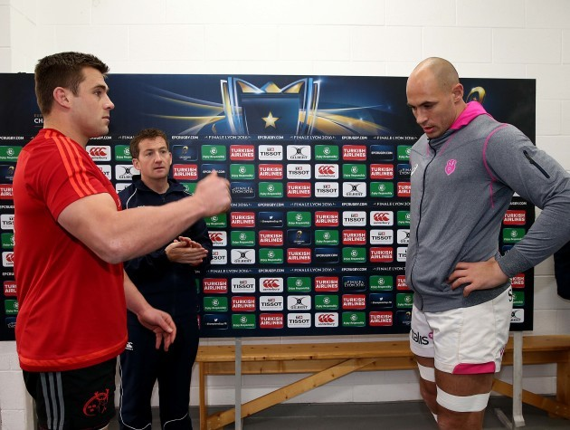CJ Stander and Sergio Parisse of with JP Doyle during the coin toss