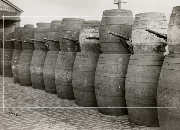 04_PressImage l Easter Rising l Barricade made from barrels, 1916